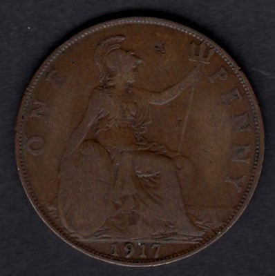 Great-Britain 1 penny 1917 KM-810 ( VF )