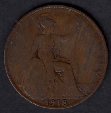 Great-Britain 1 penny 1918 KM-810 ( G/VF )