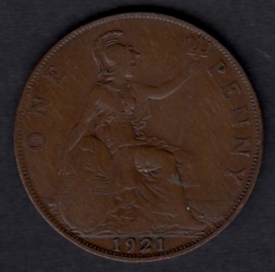 Great-Britain 1 penny 1921 KM-810 ( VF ) small edge defects