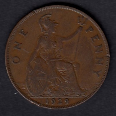 Great-Britain 1 penny 1929 KM-838 ( F ) edge defects