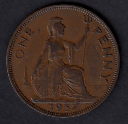 Great-Britain 1 penny 1937 KM-845 ( VF )
