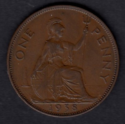 Great-Britain 1 penny 1938 KM-845 ( XF )
