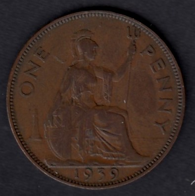 Great-Britain 1 penny 1939 KM-845 ( VF )