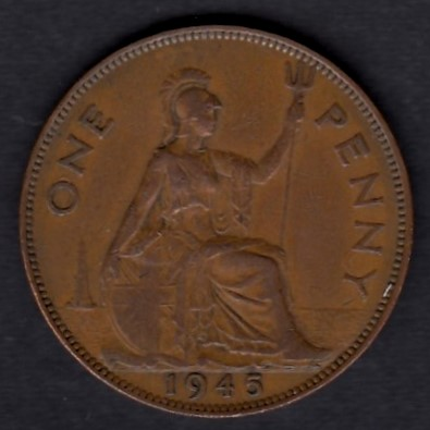 Great-Britain 1 penny 1945 KM-845 ( VF ) slightly cleaned