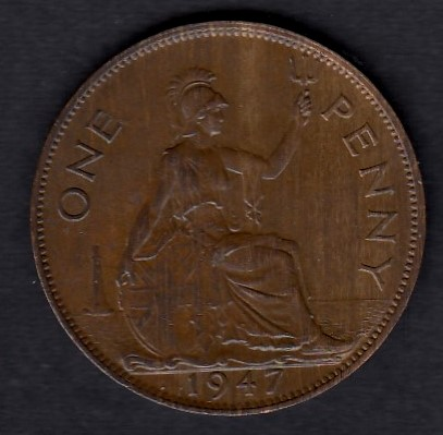 Great-Britain 1 penny 1947 KM-845 ( AUnc )