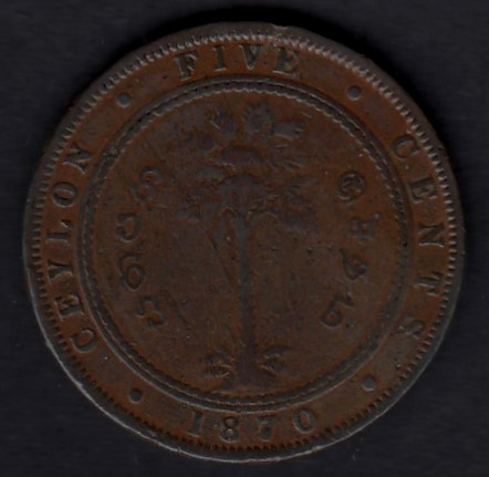Ceylon 5 Cents 1870 KM-93 ( VF )