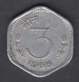 India 3 Paise 1966 KM-14.1 ( VF )