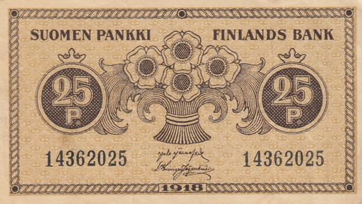 25 Penniä 1918 14362025 ( F ) JÄR - His