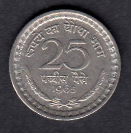 India  25 Paise 1965 KM-48.2  ( XF )