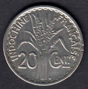 French Indo China Ranskan Indo-Kiina 20 centimes 1941 KM-23a.2 ( 1 )