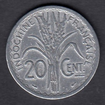 French Indo China 20 centimes 1945 KM-29  ( VF )