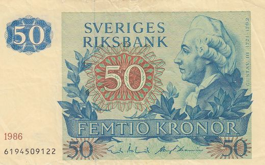 Sweden 50 kronor 1989 6194509122 P-53 ( F )