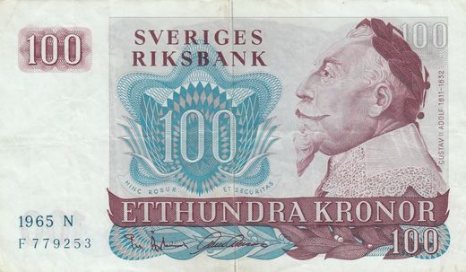 Sweden 100 kronor 1965N F779253 P-54 ( VF )
