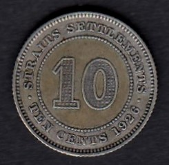 Straits Settlements 10 cents 1926 KM-29b ( 01 ) Silver