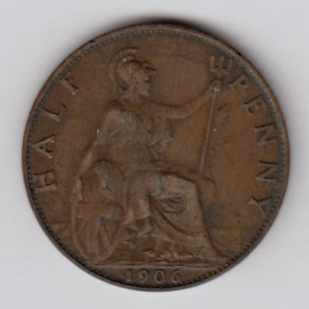 Great-Britain 1/2 penny 1906 KM-793.2 ( VF )