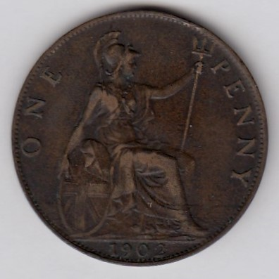 Great-Britain 1 penny 1902 KM-794.1 ( VF )