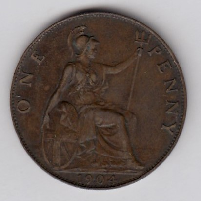Great-Britain 1 penny 1904 KM-794.2 ( VF )