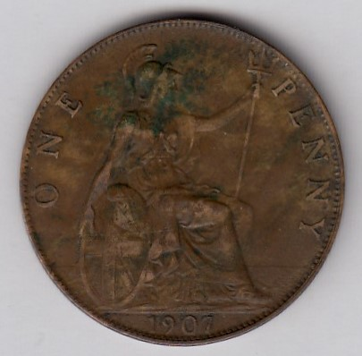 Great-Britain 1 penny 1907 KM-794.2 ( VF )