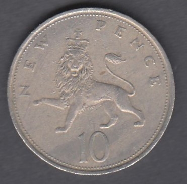 Great-Britain 10 New Pence 1974 KM-912 ( VF )