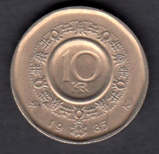 Norway 10 Kroner 1985 KM-427 ( VF )