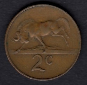 South-Africa 2 cents 1965 KM-66.2 ( VF )