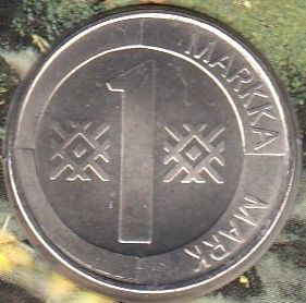 1 Markka 1993 ( 01-0 )  Cu75% Ni 25 % This coins has no actual monetary value