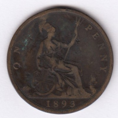 Great-Britain 1 penny 1893 KM-755 ( F )