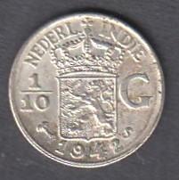 Netherlands East India 1/10 gulden 1942 KM-318 ( AUnc ) Silver 1.25 g / 720