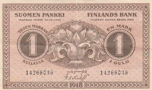 1 Markka 1918 14266036 ( VF ) JÄR - The