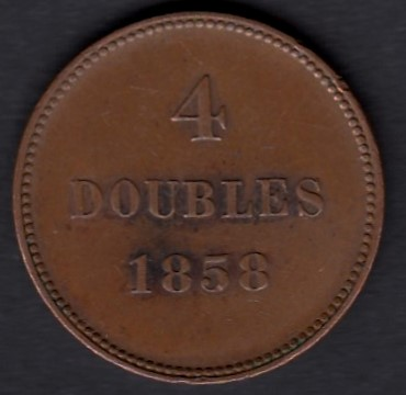 Guernsey 4 Doubles 1858 KM-2 ( XF ) edge defect