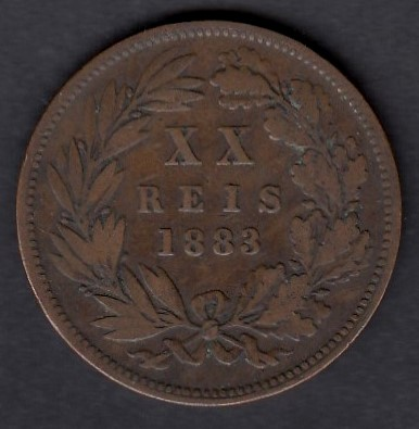 Portugal 20 Reis 1883 KM-527 ( VF )