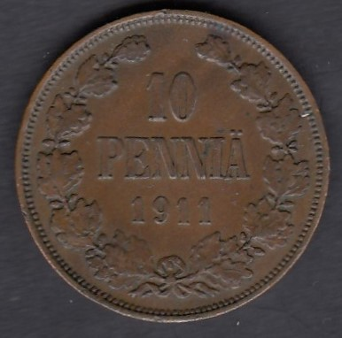 10 penniä 1911 ( XF ) small edge defects