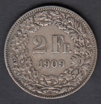 Switzerland 2 Francs 1909 KM-21 ( 1+ ) Ag 10g 835/1000
