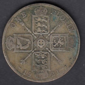 Great-Britain 1 florin 1921 KM-817a ( F ) Silver 141.31g / 500