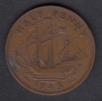 Great-Britain 1/2 penny 1943 KM-844 ( VF )