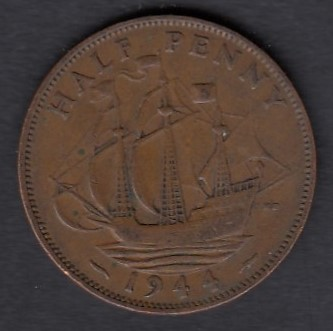 Great-Britain 1/2 penny 1944 KM-844 ( VF )