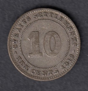 Straits Settlements 10 cents 1918 KM-29a ( VF ) Silver