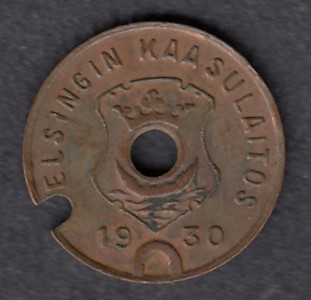 Gasworks token Helsinki 1930 Diameter 16mm