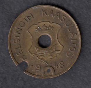 Gasworks token Helsinki 1948 Diameter 16mm