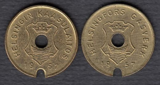 Gasworks token Helsinki 1957 Diameter 16mm