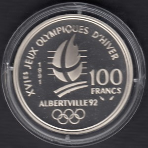 France 100 Francs 1991 KM-994 ( PROOF ) Albertville Certificat + box