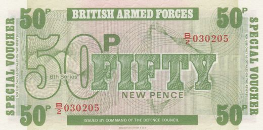 Great Britain 50 Pence 1972 P-M36a ( UNC ) British armed forces