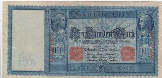 Germany 100 mark 1910 P-42 ( VF ) rupture