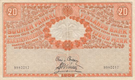 20 Markkaa 1909 9980017 Without watermark ( VF ) COL - Mul