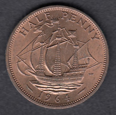 Great-Britain 1/2 penny 1964 KM-896 ( AUnc )