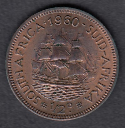 South-Africa 1/2 Penny 1960 KM-45 ( AUnc )