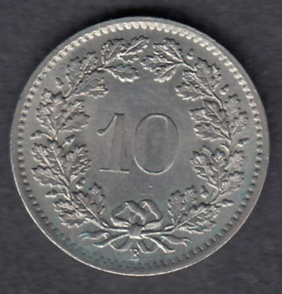Switzerland 10 Rappen 1969 KM-27 ( XF )