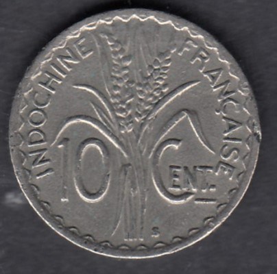 French Indo China 10 centimes 1941S KM-21.1a ( VF )