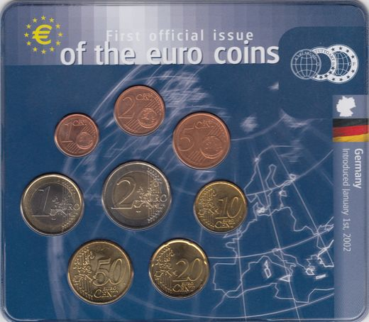 Germany 1 Cent - 2 euro 2002 F serie ( UNC )