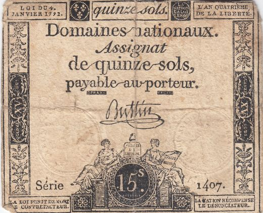 France 15 sols 1792 A#69 Serie 1407